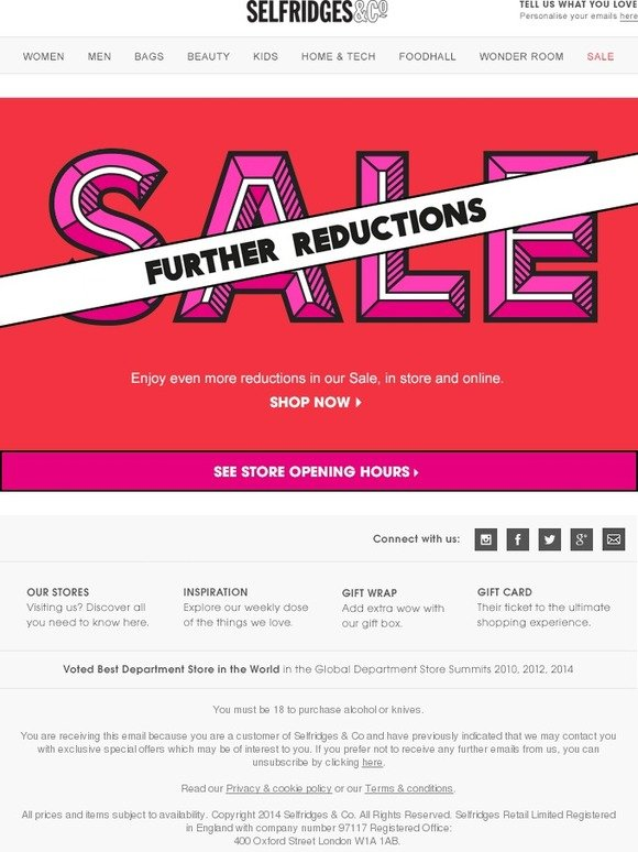 Selfridges   Co.  Further Sale reductions online and in store   Milled b5d807844f