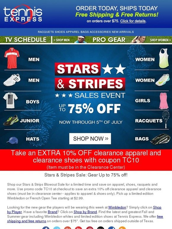 Tennis Express Stars Stripes Blowout Sale Up To 75 Off Rackets