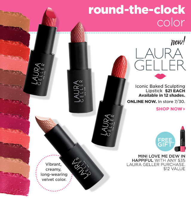 Laura Geller Iconic Baked Sculpting Lipstick, Shop Now. Free Gift** Mini Love me Dew in Happiful with any $35 Laura Geller Purchase.