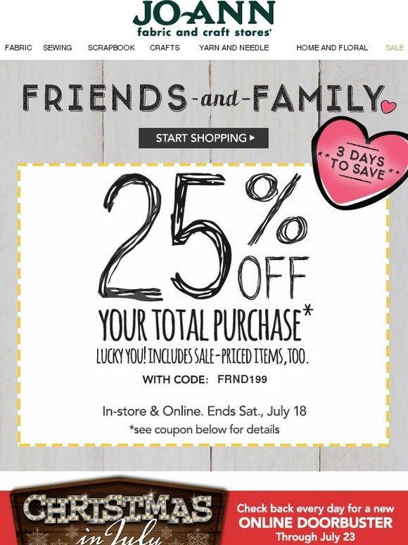 jo ann fabric and craft store friends family coupon