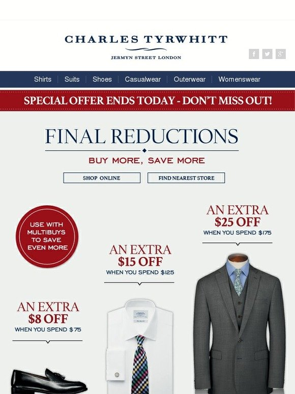 Charles Tyrwhitt is offering select Dress Shirts for $Even better, many of these dress shirts qualify for a FREE Tie (offer will appear in cart). Shipping starts at $ Combined, this is one of the stronger offers we've seen from Charles Tyrwhitt recently.