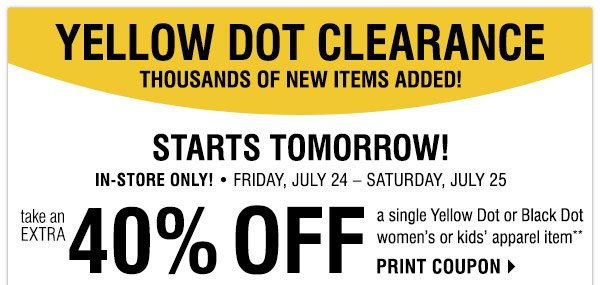 Younkers yellow dot coupon in store