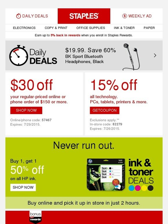 staples  back to school savings in store and online
