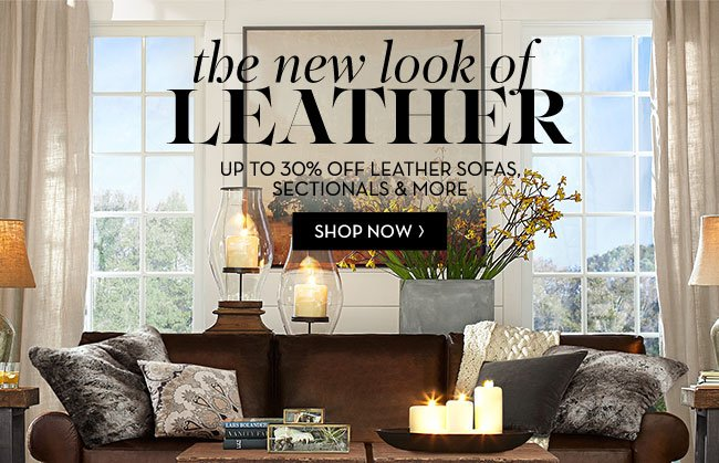 Pottery Barn: Luxury Leather Is Up To 30% Off! Plus, Today Only, Save 40%  On Turner Roll Arm Leather Sofa | Milled