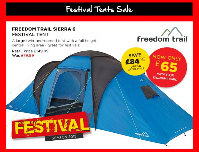 Freedom Trail Sierra 6 Festival Tent  sc 1 st  Milled & Go Outdoors: Summer Sale u2013 New lines added! Tents u0026 Camping now ...