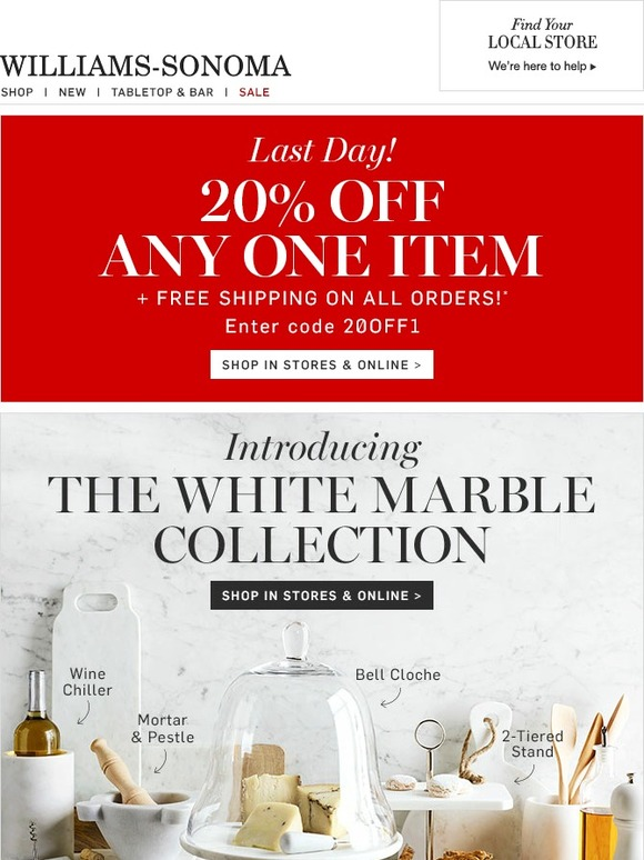 Williams Sonoma Final Hours 20 Off Amp Free Shipping