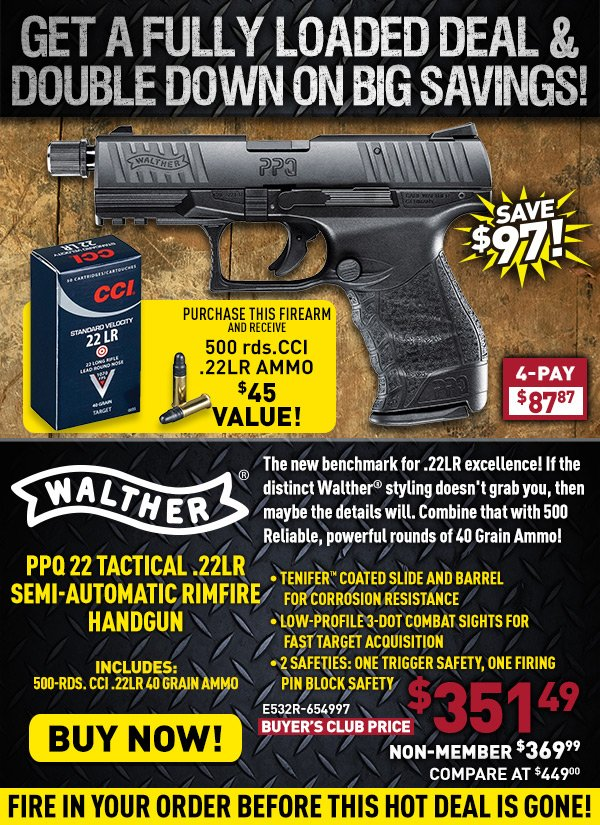 The Sportsman's Guide: Walther PPQ 22 Tactical Semi-auto