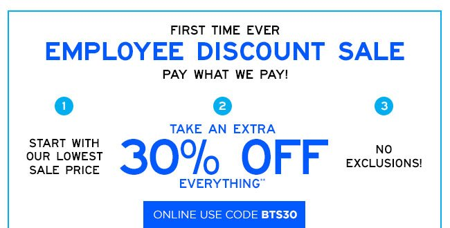 Aéropostale: Employee Discount Sale – extra 30% off