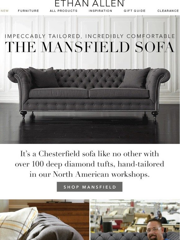 ethan allen our new mansfield sofa on sale now milled