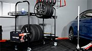 rolling tire storage rack where your other tires rest for the season