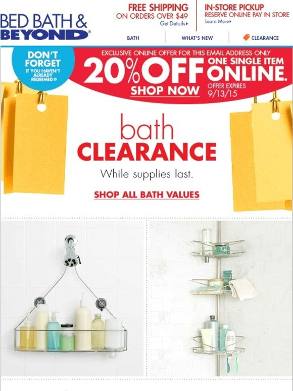 bed bath and beyond your 20 online offer is waiting clearance bath milled. Black Bedroom Furniture Sets. Home Design Ideas