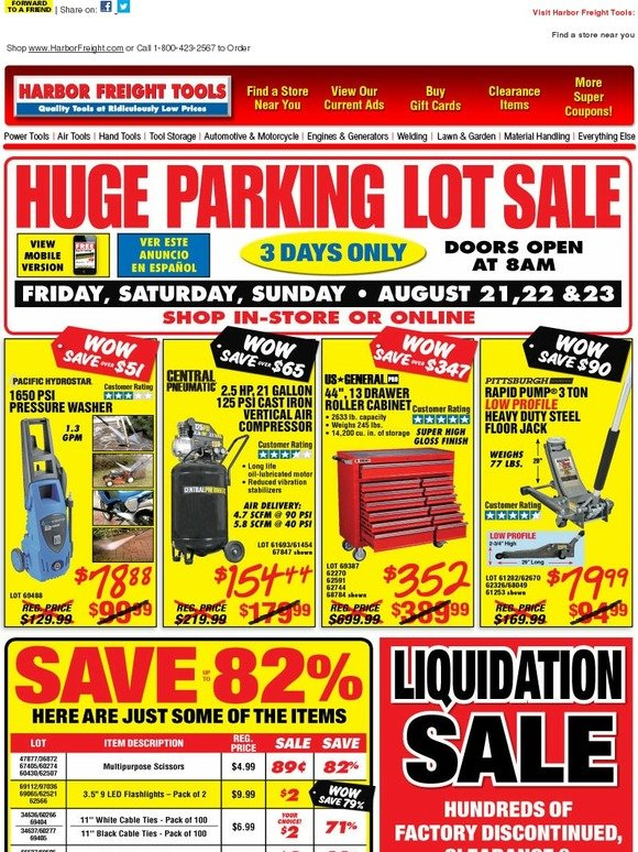 Harbor Freight Huge Parking Lot Sale This Weekend Save