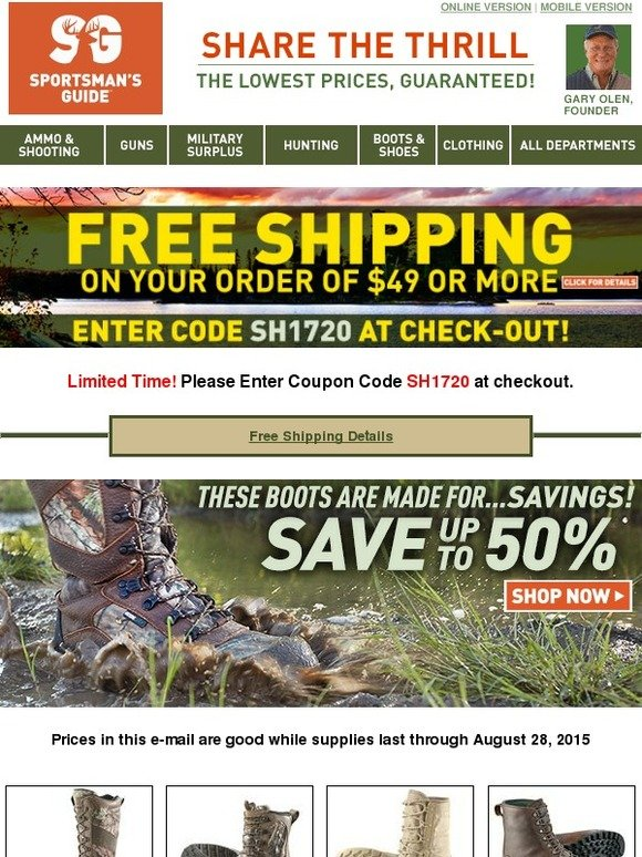 receive Double Discount and Free Shipping on any merchandise order. Must be a new or current Buyers Club Member to use this coupon. Free standard shipping only. Heavy/Bulky, Gun Processing, Express Shipping upgrade and Alaska/Hawaii fees still apply. Does not apply to Canadian or International Orders.