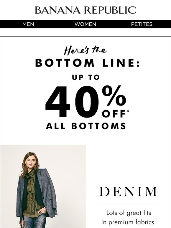 Complicated discount system with discounts for Banana Republic and Old Navy as well, but the discount percentage varies from 30% - 50%, based on how much you're buying and whether it's at .