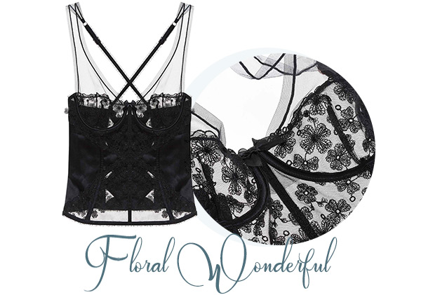 Floral Embroidery Black