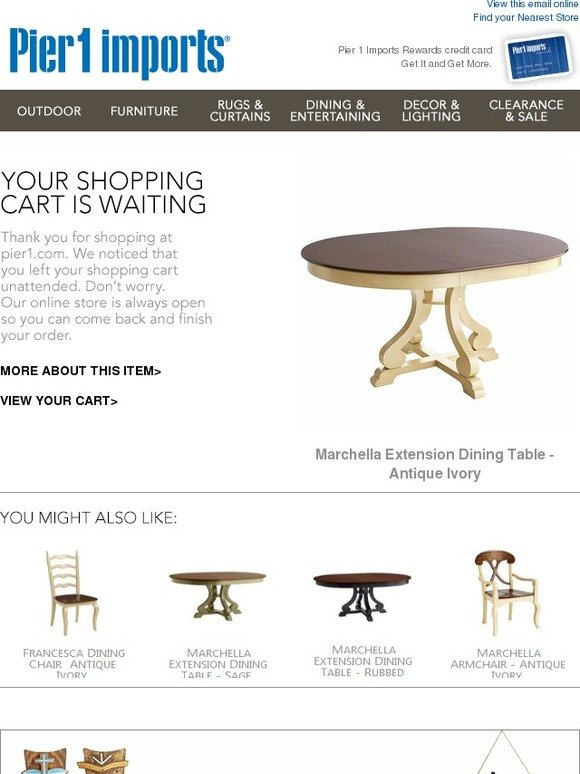 Pier 1: In Your Cart: Marchella Extension Dining Table   Antique Ivory |  Milled