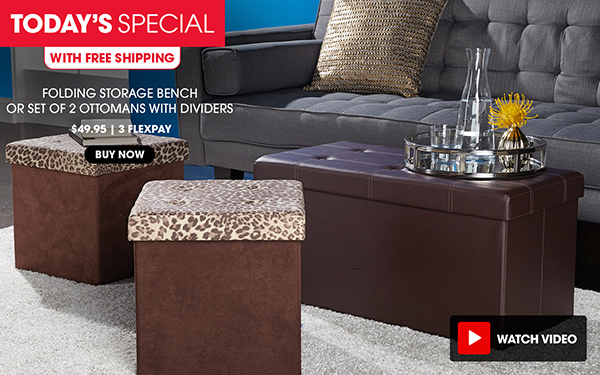 TODAY'S SPECIAL| WITH FREE SHIPPING | FOLDING STORAGE BENCH OR SET OF 2 OTTOMANS WITH DIVIDERS | $49.95 | 3 FLEXPAY | BUY NOW