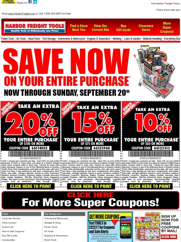 Harbor Freight Extra 20 Off Your Entire Purchase Now Through