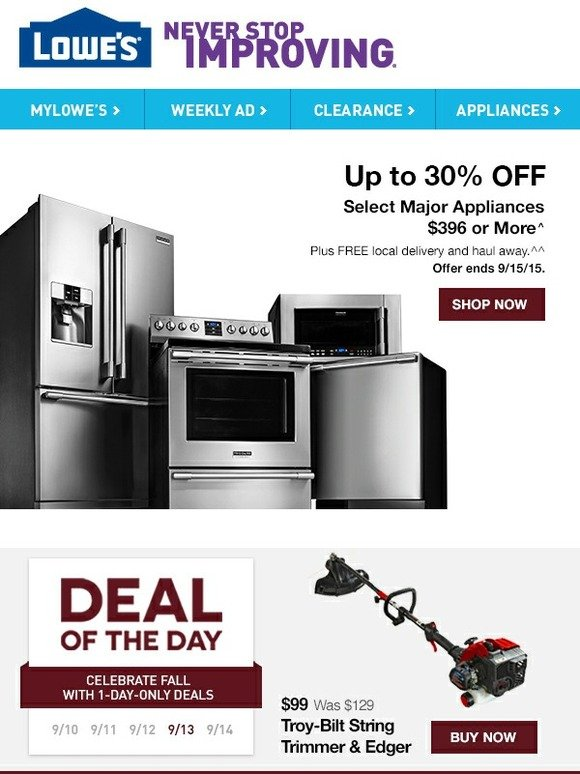Lowes Deal Of The Day Up To 30 Off Select Appliances
