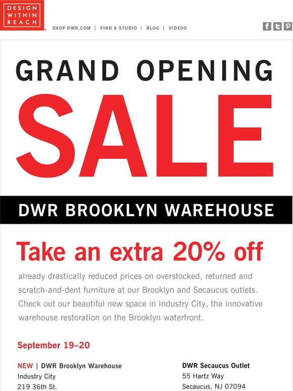 Design Within Reach Extra 20 Off At Our Brooklyn Warehouse Milled