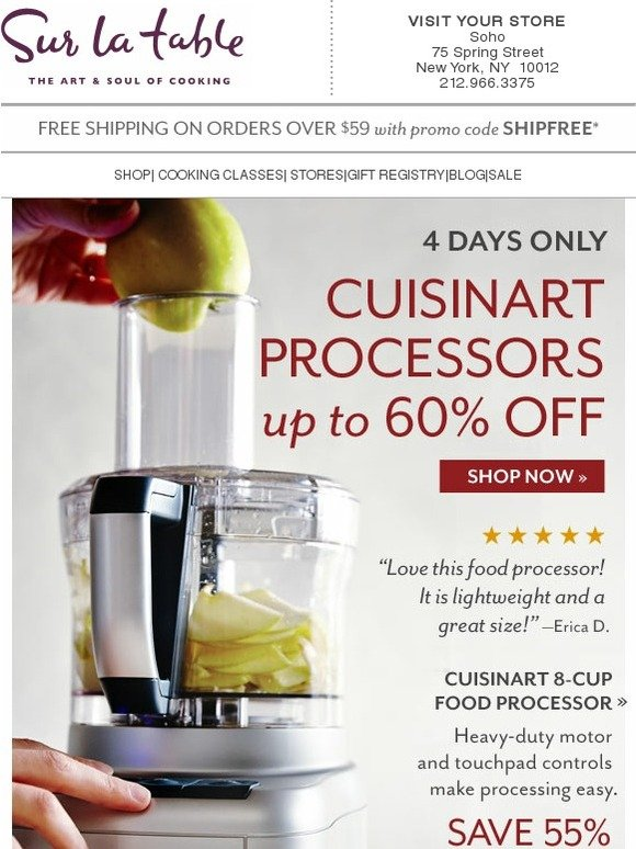 Sur la table 4 days only up to 60 off cuisinart food for Sur la table food scale