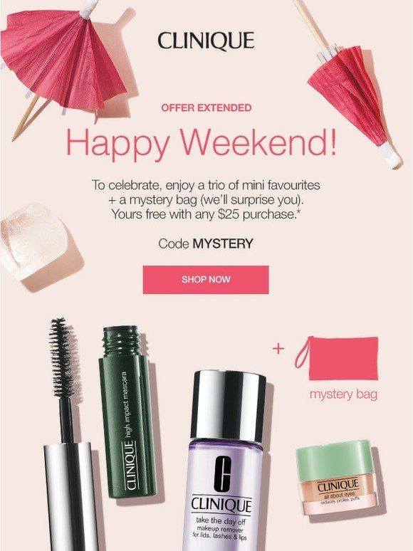 Clinique: Extended! 3 FREE minis + FREE mystery bag with purchase. | Milled