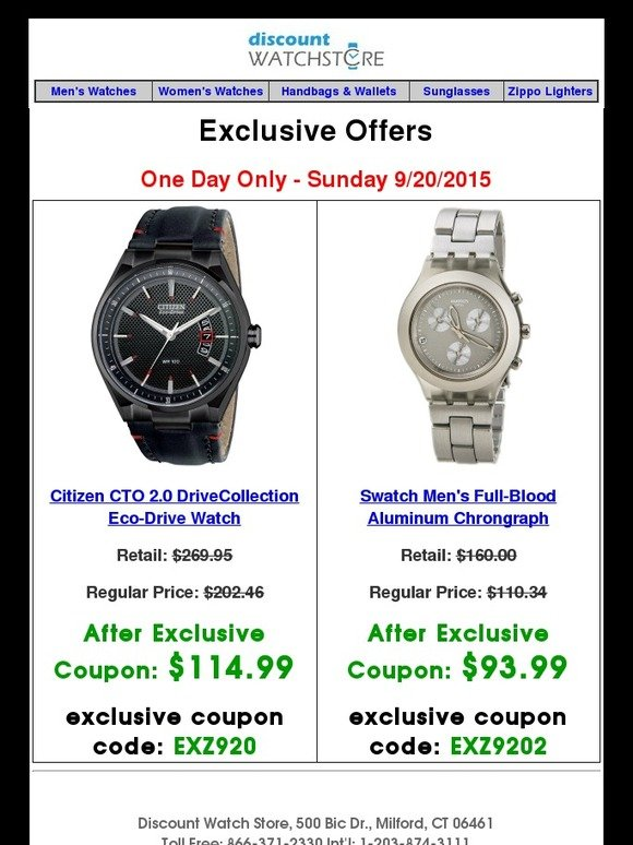 Discount Watch Store is your one-stop online source for designer watches and accessories. Carrying popular brands such as FOSSIL, SEIKO, TISSOT, TIMEX, SWATCH, GUCCI, and more, Discount Watch Store offers guaranteed lowest prices, as well as every day free shipping, 90 day returns, full warranty, and guaranteed authenticity.