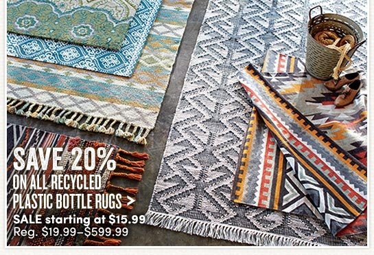 Save 20% On All Recycled Plastic Bottle Rugs