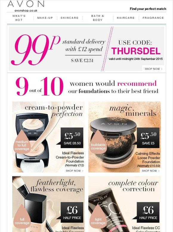 Avon UK: Foundation favourites + 99p Delivery 'til ...