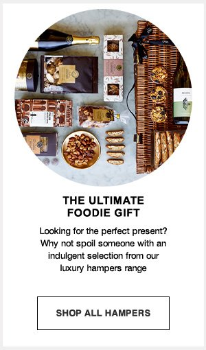The ultimate foodie gift: Looking for the perfect present? why not spoil someone with an indulgent selection from our luxury hampers range