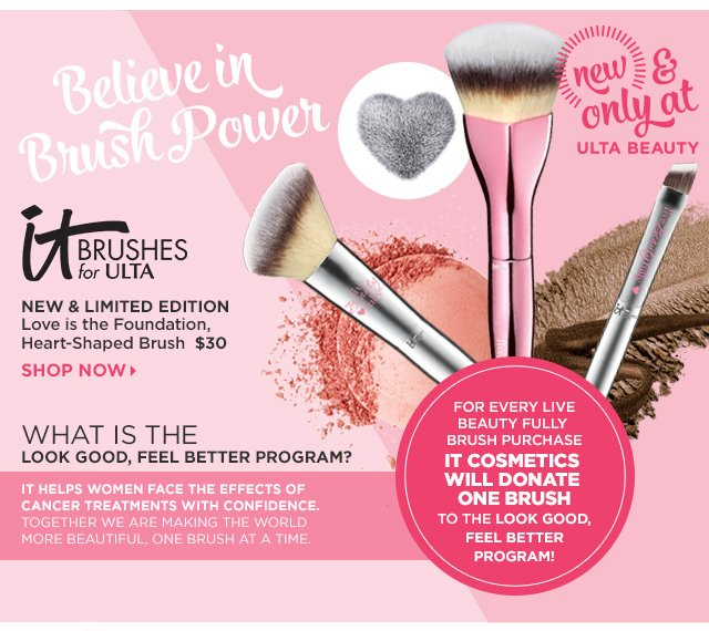 It Brushes for ULTA | Love is the Foundation Heart-Shaped Brush $30, Shop Now.