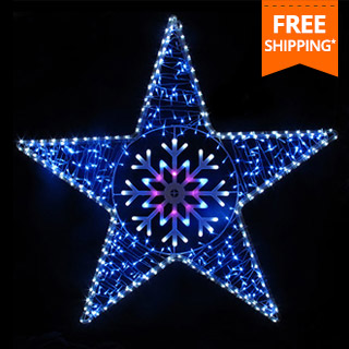 120cm star with snowflake centre led rope light - Led Rope Christmas Lights