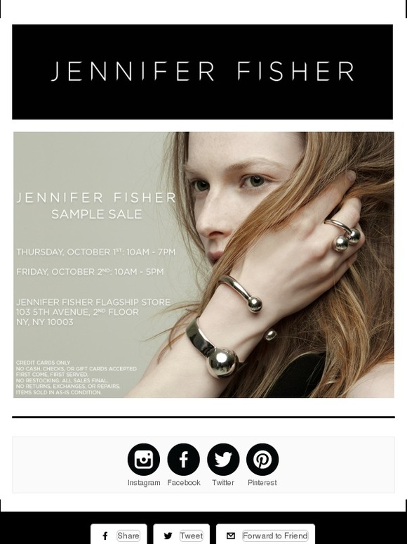 Jennifer Fisher: Tomorrow! Jennifer Fisher NYC Sample Sale