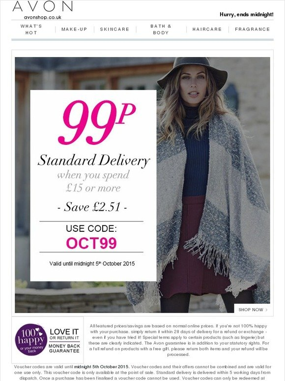 Avon UK: Are you missing out? 99p Delivery ends midnight ...
