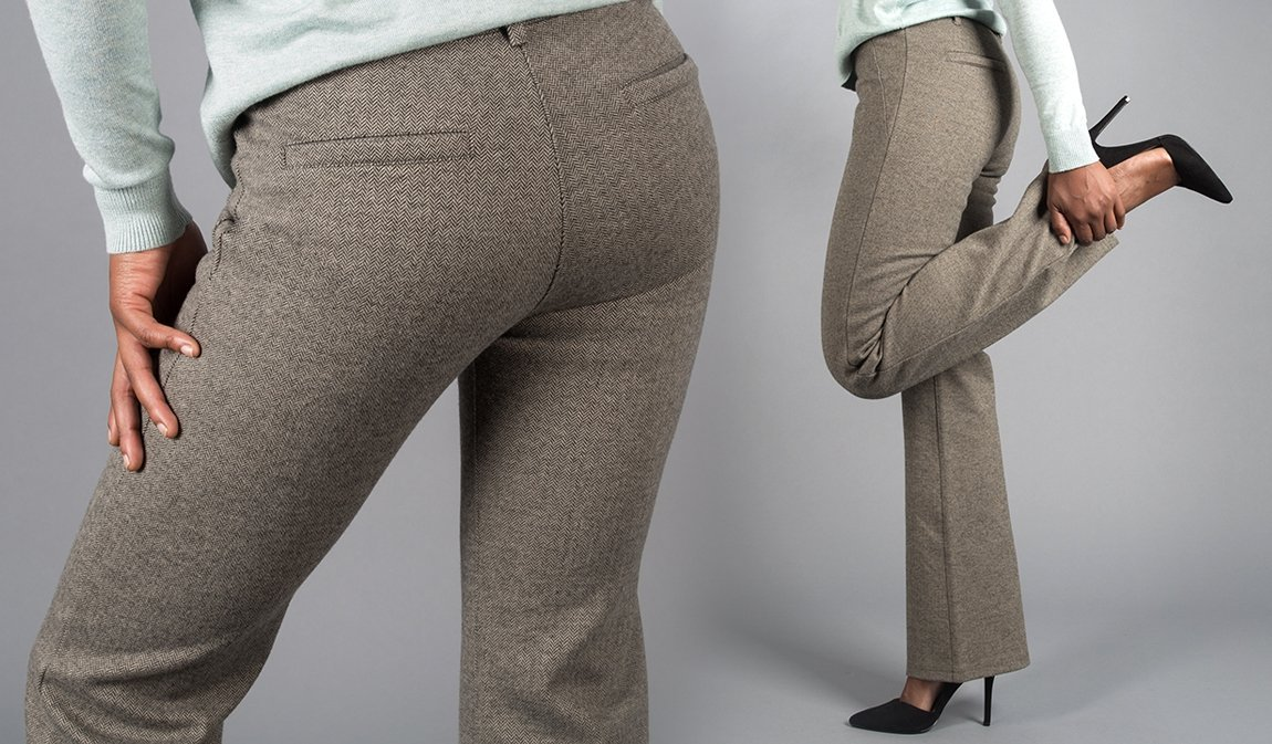 Betabrand: New Dress Pant Yoga Pants - Silver & Herringbone | Milled
