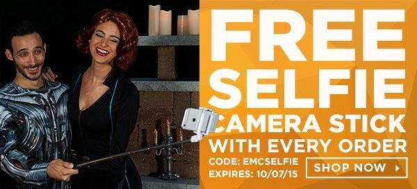 Free Selfie Camera Stick With Every Order! Code: emcselfie Shop Now!