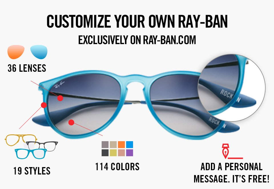4e8ce292675 Show off your individuality by remixing your own pair of Ray-Ban. Then  share your design on your favorite social network and let your friends know  how ...