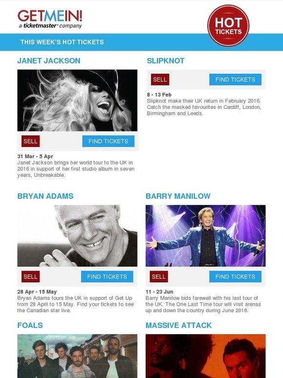 Get Me In: 🔴 Hot Tickets: Janet Jackson, Slipknot, Foals