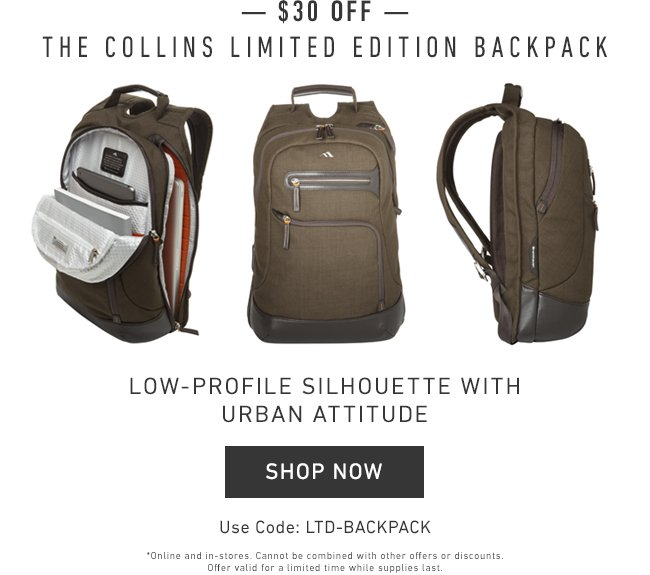 Allsaints Seattle Wa: Brenthaven: $30 OFF The Collins Ltd. Edition Backpack