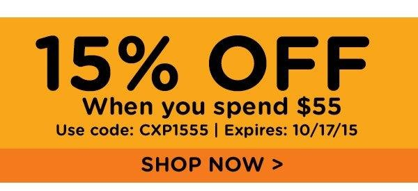 15% off when you spend $55