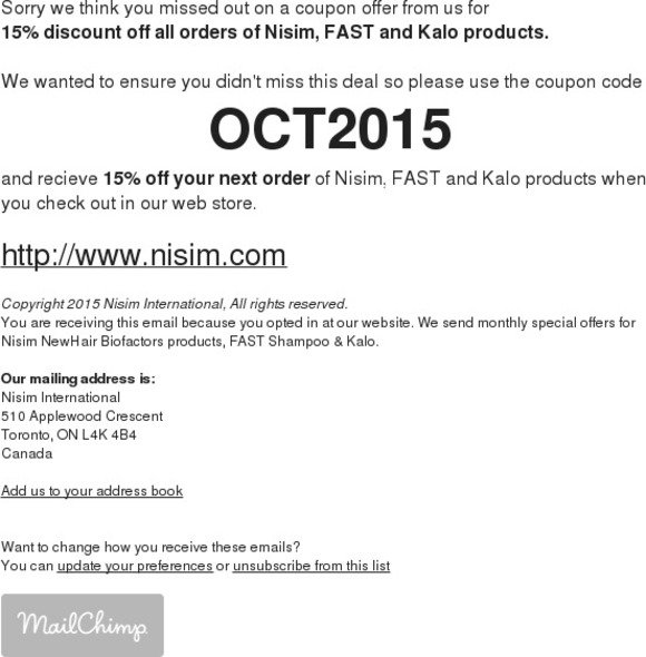 Nisim International Sorry We Missed You Coupon OCT2015 Inside For All FAST And Kalo Products