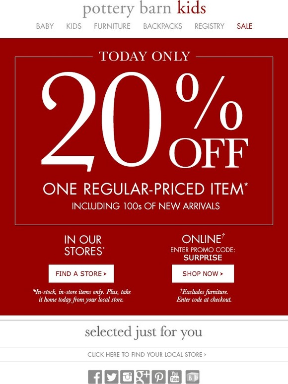 Shopping Tips for Pottery Barn: 1. The Pottery Barn credit card scores exclusive rewards and early access to sales. A $25 store credit is added to your account as soon as you spend at least $ using the credit card. 2. The email list is a great way to stay on top of uncommon Pottery Barn coupons with sitewide markdowns.