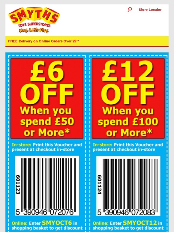 Hurry and get FREE delivery with no minimum spend at Smyths Toys