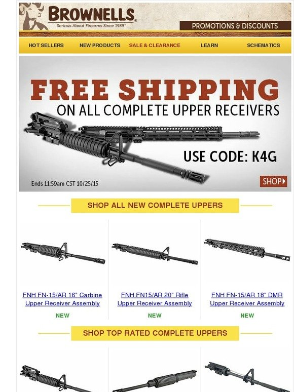 Brownells: FREE SHIPPING on Complete Uppers! | Milled