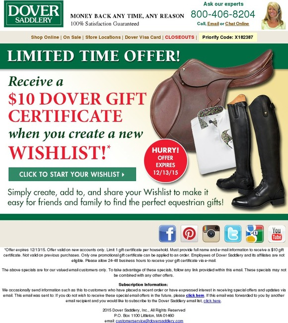 Dover Receive A 10 Gift Certificate When You Create A