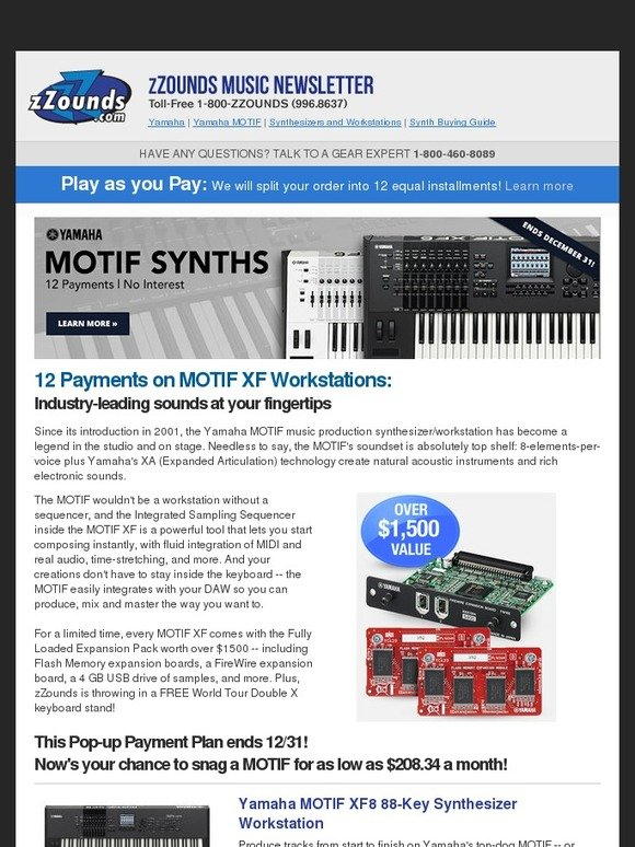zZounds: Yamaha MOTIF Keyboards: 12-Payment Plan! | Milled