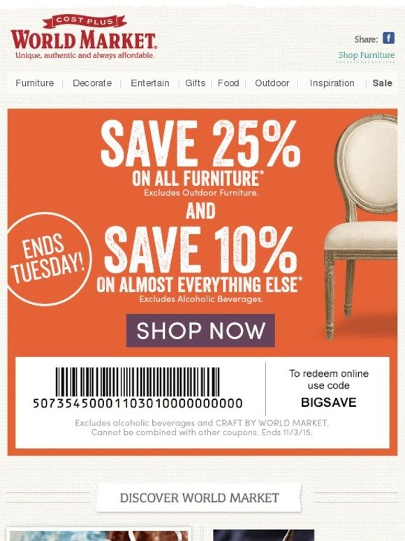 World Market Coupons, Offers & Promotions. Find promo codes and discounts, special offers and huge markdowns, plus additional savings with printable World Market coupons, coupon codes and free shipping. Discover global-eclectic furniture, food and drinks, decorative accessories, entertaining essentials, unique gifts and more.