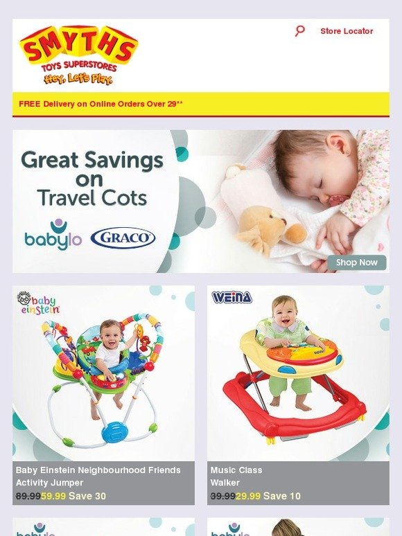 smyths toys hq  great savings on travel cots  bouncers  walkers  highchairs and more