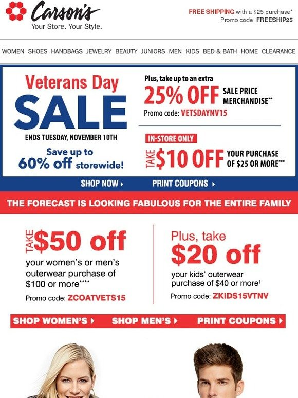 carson 39 s cold call 50 off outerwear veterans day sale happening now milled. Black Bedroom Furniture Sets. Home Design Ideas