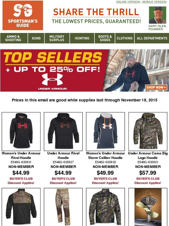 bdd46a94f5c The Sportsman s Guide  Top Sellers with Up To 25% Off Under Armour ...